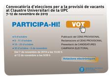 Convocatòria d'eleccions per a la provisió de vacants al Claustre Universitari de la UPC 2019