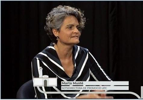 La professora Marta Musté, Sotsdirectora de Promoció de l'EPSEVG, durant la Fira de Novembre 2020 va concedir una entrevista a Canal Blau TV