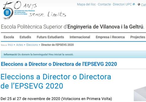Pàgina web de les eleccions a Director o Directora de l'EPSEVG 2020