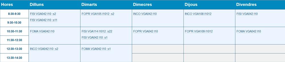 Horari Grup I1012