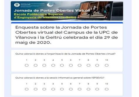 Resultados de la encuesta de la Jornada de Puertas Abiertas (JPO) Virtual de la EPSEVG del día 29-05-2020