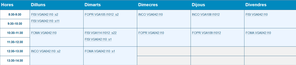 Horario Grupo I1012