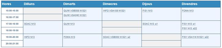 Horario Grupo N1321